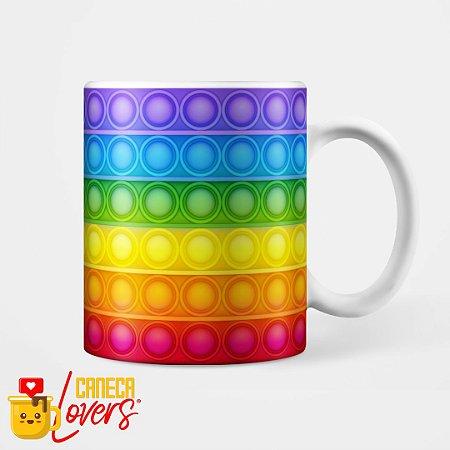 Caneca Fidget Toy Pop It Rainbow