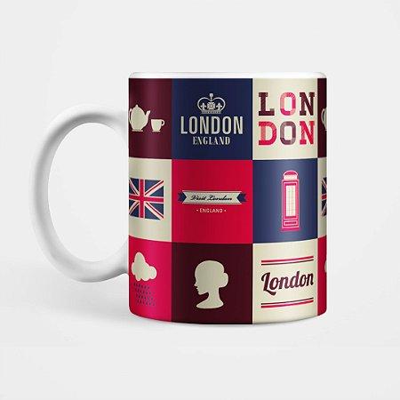 """Caneca  """"Londres - Xadrez"""""""