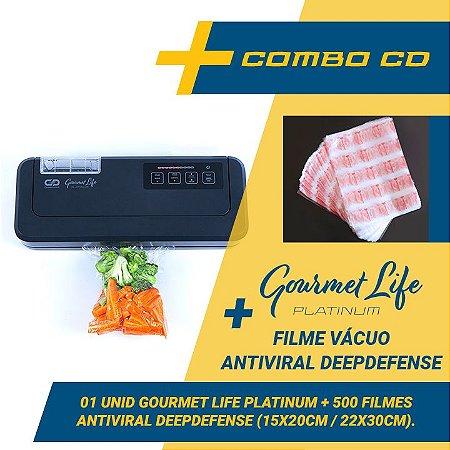 Combo Seladora a Vácuo Automatica Gourmet Life Platinum + 500 sacos Antiviral DeepDefense (15x20 e 22x30) com reservatório para líquidos