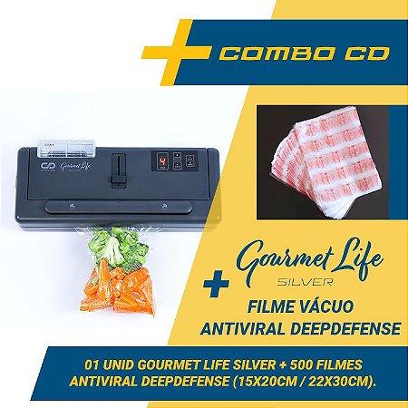 Combo Seladora a Vácuo Gourmet Life Silver + 500 sacos - Antiviral DeepDefense (15x20 e 22x30) com reservatório para líquidos