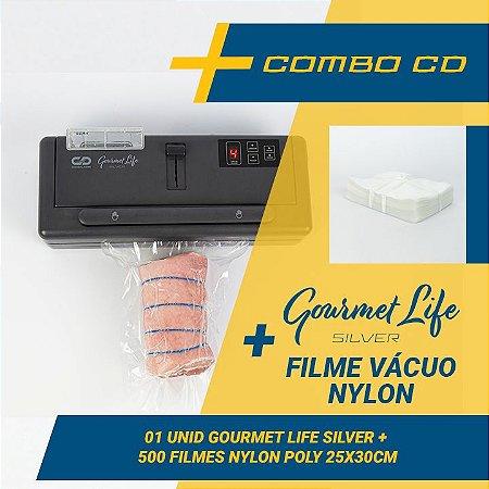 Combo Seladora a Vácuo Gourmet Life Silver com reservatório para líquidos+ 500 sacos (25x30)