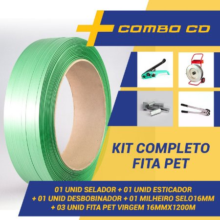 Kit Completo Para Fita Pet – 01 Carro + 01 Esticador + 01 Selador +  01 milheiro Selo + 03 Fita Pet