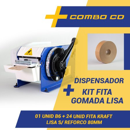 Máquina Dispensador Para Fita Gomada B6 + Kit Fita Gomada Lisa