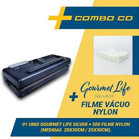 Combo Seladora a Vácuo Gourmet Life Silver + 500 sacos (20x30 e 25x30)