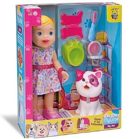 Boneca My Little Collection My Pet Gatinho Divertoys Rosa