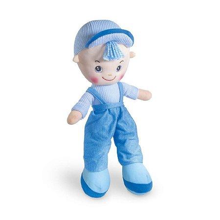 Boneco De Pano Rafa Boy Soft Skate Bebê Super Macio Fofinho Azul