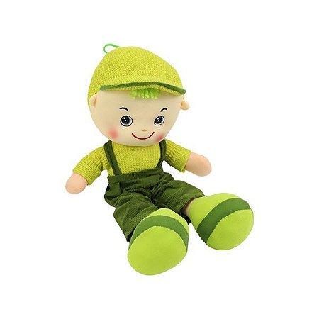 Boneco De Pano Rafa Boy Soft Skate Bebê Super Macio Fofinho Verde