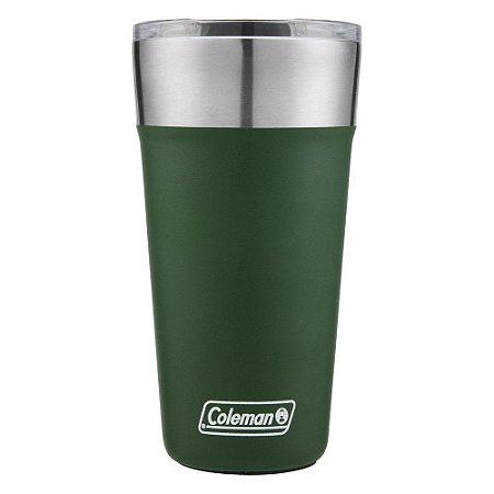 Copo Térmico de Cerveja Verde Coleman Tumbler Com Tampa 600ml Até 15h Gelado