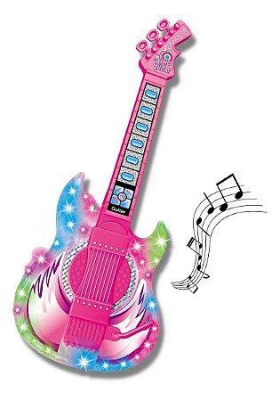 Guitarra Infantil Com Microfone E Pedestal Dm Toys Rock Show Rosa