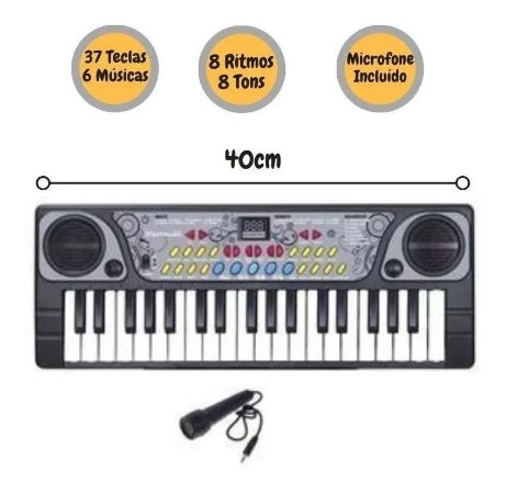 Teclado Piano C/ Microfone Brinquedo Criança Bx1622 Dm Toys