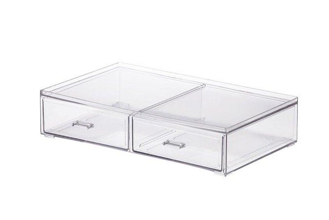 Caixa Organizadora C/ 2 Gavetas 31,5x18x5x7 cm 1093 Transparente