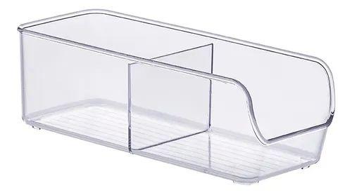 Organizador Com 2 Divisórias 28x10x9cm Transparente