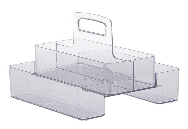 Organizador Diamond Com Alça Duplo 24 x 24 x 18cm Transparente 939