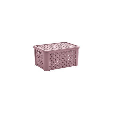 Caixa Organizadora Plástico Rattan 24 X 17 x 12 Rose 709