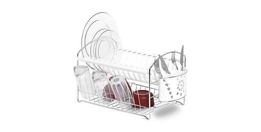 Escorredor / Secador De Pratos Duplo E Copo Com Porta Talher Branco