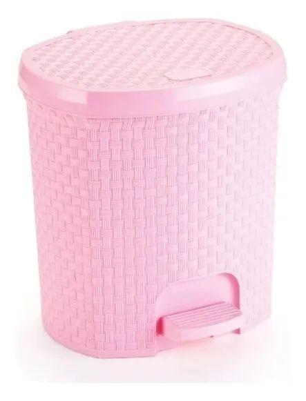 Lixeira Com Pedal Rattan 6 Litros Para Cozinha Banheiro Rosa