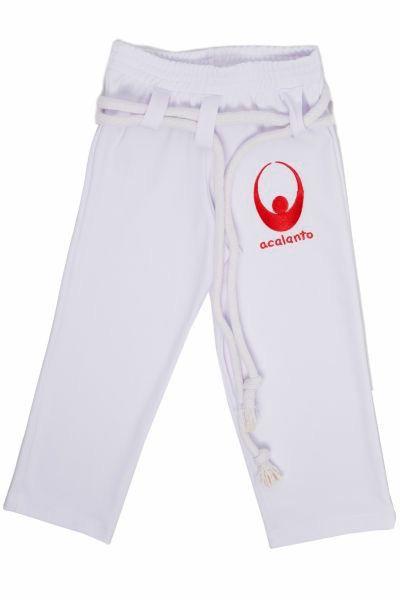calça capoeira Acalanto bordado vermelho