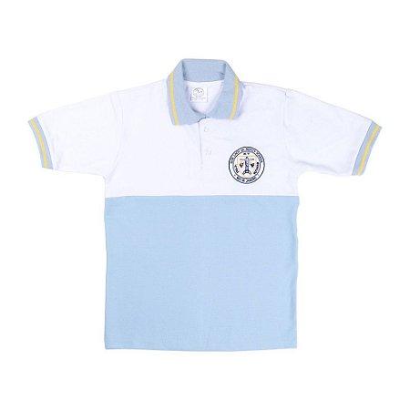 Camisa polo azul e branca OLM/white and blue polo shirt OLM