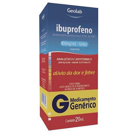 Ibuprofeno 100Mg/ml Suspensão 20Ml Genérico Geolab