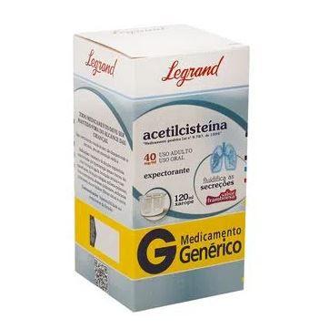 Acetilcisteína Legrand 40mg/mL, caixa com 1 frasco com 120mL
