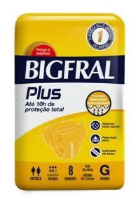 Fralda Geriátrica Bigfral Plus Grande 8 unidade