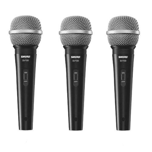 Kit 3 Microfone Mão Multifuncional C/ Fio SV100 Preto SHURE