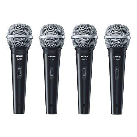 Kit 4 Microfone Mão Multifuncional C/ Fio SV100 Preto SHURE