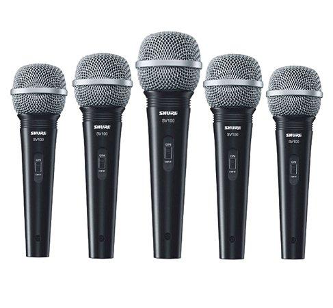 Kit 5 Microfone Mão Multifuncional C/ Fio SV100 Preto SHURE