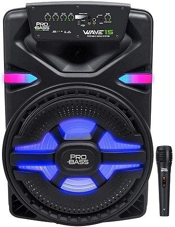 CAIXA AMPLIFICADA WAVE15 C/ ILUMINAÇÂO LED 15'' 700W - BT/SD/USB