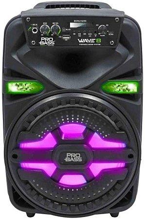 CAIXA AMPLIFICADA WAVE8 ILUMINAÇÂO LED 8'' 250W BT/SD/USB