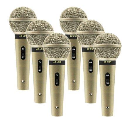 Kit 6 Microfone Cardióide Leson SM-58 P4 C/Fio 5Mt Champagne
