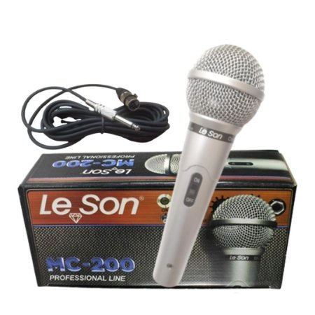 Microfone de Mão Leson Mc-200 Profissional Cabo 5 Mt Prata