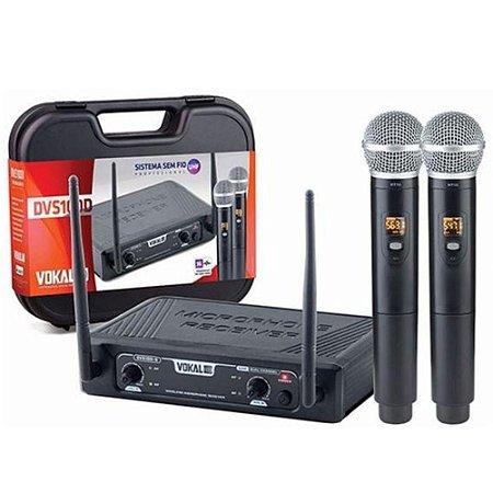 Microfone Sem Fio Duplo de Mão Vokal DVS100DM