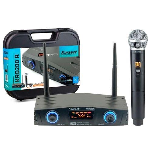 Microfone karsect krd200r single mão recarregável