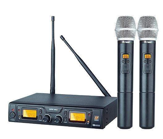 Microfone Sem Fio Duplo De Mão SRW-48D - STANER