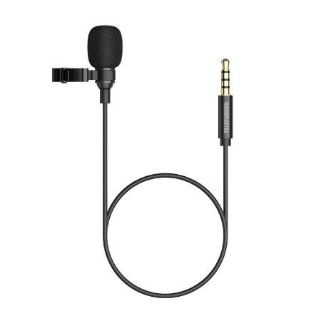 Microfone Lapela Telefunken Smart Mic para Smartphone Preto