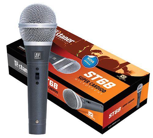 Microfone Dinamico Cardioide De Mão Staner ST 68 Cabo 4m
