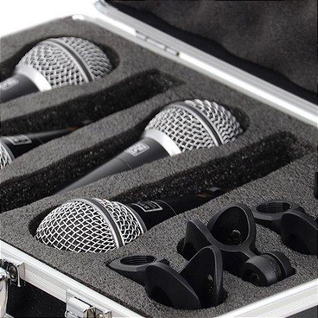 Kit Maleta 4 Microfones Staner Modelo ST-62 Dinâmico Preto