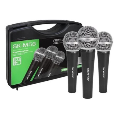 Kit 3 Microfones Vocal Dinâmico com Maleta SK-M58 - SKYPIX