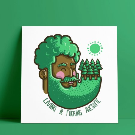 LIVING IS FUCKING AWESOME----Green - Pôster A4