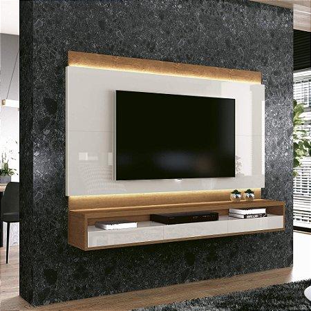 """Painel Suspenso para TV de até 60"""" Savoy - Off-White/Naturalle"""