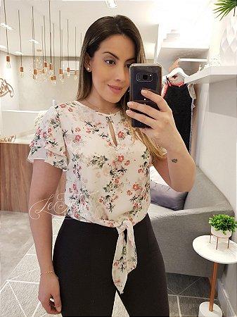 Blusa floral com amarração