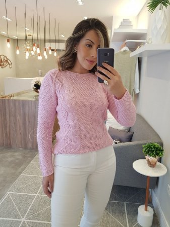 Blusa tricot mullet rosa