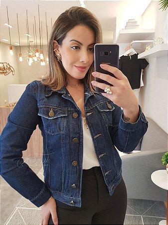 Jaqueta jeans básica escura