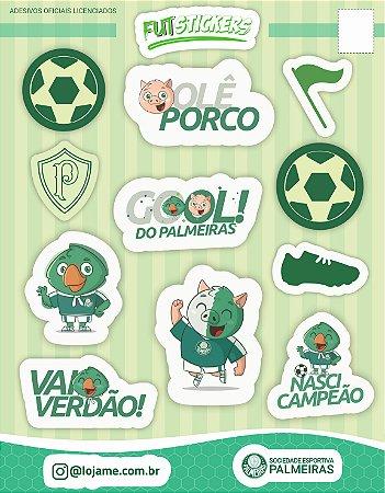Cartela de 12 adesivos de mascotes infantis do Palmeiras