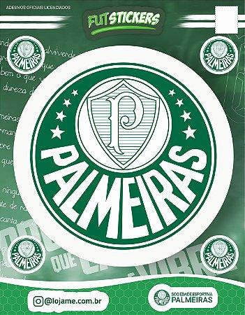 Cartela de 5 adesivos do escudo do Palmeiras.