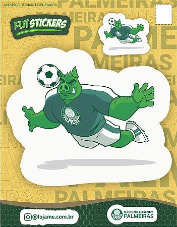 Cartela de 2 adesivos do mascote PORCO do Palmeiras