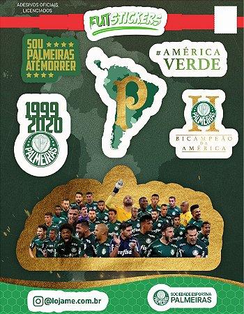 Cartela de 6 adesivos de campeão da América - Palmeiras