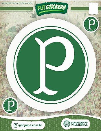 Cartela de 3 adesivos do escudo do Palmeiras