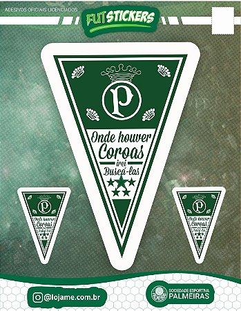 Cartela de 3 adesivos flâmula - Palmeiras
